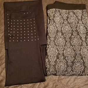 leggings black with stubs,black sliver